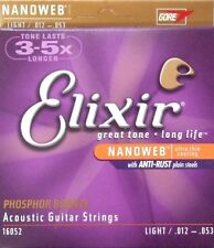 Elixir 12-53 Acoustic Phosphor Bronze guitar strings nanoweb 16052 5sets