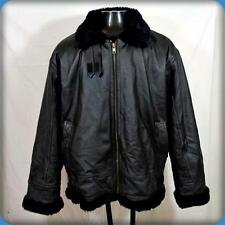 FORCE II Leather Sherpa Lined Zippered Bomber B3 JACKET Mens Size 2XL Black