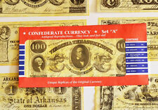 American Civil War Confederate Replica Currency Money Parchment Banknotes Set A