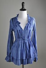 BOSTON PROPER NWT $69 Stretch Tie Dye Tiered Ruffle Ruched Poet Top Size XS