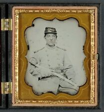 Photo Civil War Confederate 5th Virginia Cavalry Regiment With Knife and Sword