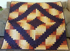 Quilt, Throw or Lap Blanket, Amber and Purple, Log Cabin Pattern, Hand-Made, New