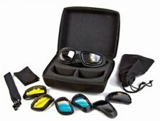 Motorcycle Biker Goggles Set With Carrying Case Changeable Lens Riding Glasses