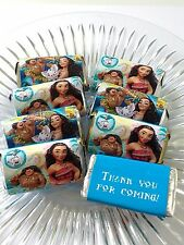 50 MOANA PERSONALIZED  MINI CANDY BAR WRAPPERS PARTY FAVORS