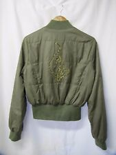 Bomber Jacket Baby Phat Reversible Jacket Olive Cheetah with Cat Size Medium