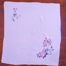 Beautiful large latte vintage silk scarf with delicate flower print