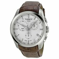 Tissot T0354391603100 Couturier GMT Chronograph BRN Leather Men White Dial Watch