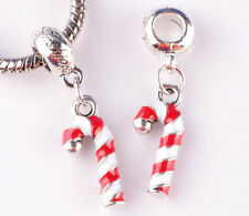 HOT 2pcs Painted Christmas big hole Beads Fit European Charm Bracelet DIY A873