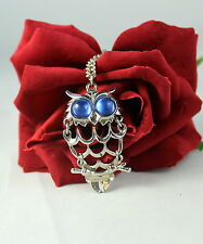 Vintage Articulated Blue Eyes Owl  Necklace  CAT RESCUE