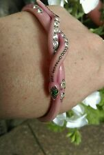 Antique Vintage celluloid? snake serpent Art Deco pink arm slave bangle bracelet