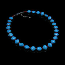 .925 Sterling Silver Natural VIVID Blue Turquoise Red Italian Coral Necklace