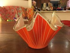VINTAGE GLASS  CHANCE ORANGE STRIPE HANKIE BOWL SMALL