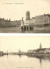 LOT DE 2 CARTES POSTALES DUNKERQUE PLACE JEAN BART ET BASSIN DU COMMERCE