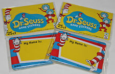 Dr Seuss Cat In The Hat Nametags Name Tags - 50 Count Stickers Birthday