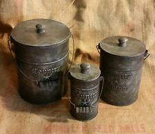 SET OF 3 VINTAGE COUNTRY LIVING TIN METAL BUCKET / CANISTERS PRIMITIVE DECOR
