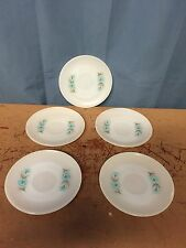 5 Vintage Anchor Hocking Fire-King Bonnie Blue Saucers Milk Glass No Cups