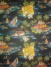 Trans-Pacific textiles fabric-Hawaii-surf board-sailboat-old woody cars-retro-1y