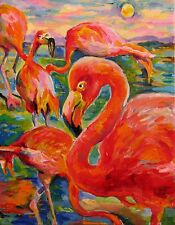 "Flamingos ORIGINAL Acrylic PAINTING on stretched canvas 11""x14""x1""by L Angel"