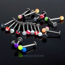 20PCS Stainless Steel Lip Monroe Labret Ring Bar Stud Tragus Ball Body Piercing