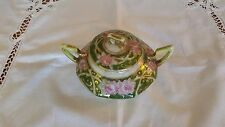 Antique Japanese Nippon Double Handle Sugar Bowl, Hand Painted, Green + Roses