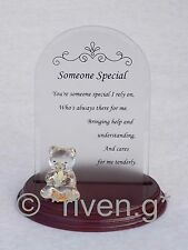 Arched Glass Plaque~SOMEONE SPECIAL Verse~Wooden Base~THANK YOU~Unique Gift Set