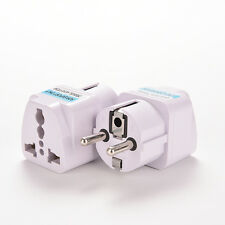 White AU/US/UK to EU Euro Plug AC Power Travel Home Charger Adapter Converter MW