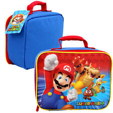 Super Mario Bros School Soft Insulated Rectangular Lunch Bag Blue Bowser Boomba
