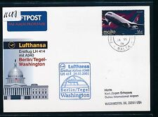 66688) LH FF Berlin - Washington USA 26.3.2001, Karte ab Malta stamp Airbus