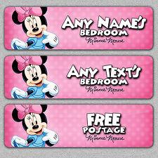 Personalizado Minnie Mouse Dormitorio Puerta Firmar/Placa De Metal Disney/Niñas/Bebé/Niño