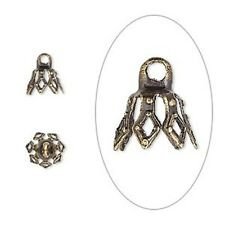 Antiqued Gold Plated 8mm 7-Prong Bell Bead Cap with Loop 20pc
