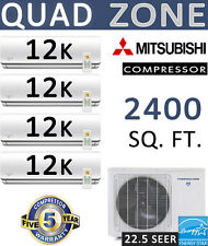 22.5 SEER Quad Zone Ductless Mini Split Air Conditioner Heat Pump: 12000 BTU x 4