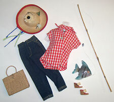 Vintage Barbie Complete PICNIC SET Jeans #967 Fishing Pole Fish Hat Cork Wedgies