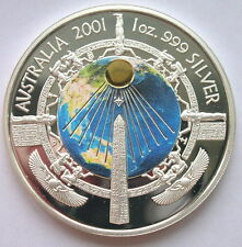Australia 2001 Egyptian Obelisk Earth Dollar Gold Plated Silver Coin,Proof