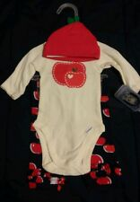 Gerber Baby Girl Outfit Onesie, Pants and Cap Apple Design 0-3 Month