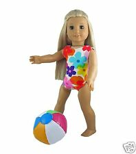 Doll Clothes Swim Bathing Suit Bright Floral+Beachball fit 18 inch American Girl