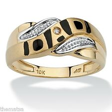 10K YELLOW GOLD DIAMOND ACCENT  DAD RING SIZE 8 9 10 11 12 13 FREE SHIPPING