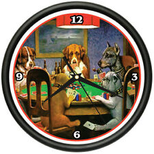 DOGS PLAYING POKER Wall Clock dog art poster print
