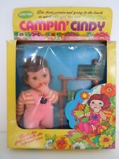 FUN WORLD BEAN BAG  BIG EYES  FRECKLES DOLL 1970'S CAMPING CINDY+ FOLDING CHAIR