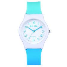 Zeiger Fashion Kids Girls Child Blue Silicone Band Wrist Quartz Watch + Box