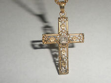 VINTAGE SOLID 14K YELLOW GOLD NECKLACE FILIGREE CROSS WITH DIAMOND