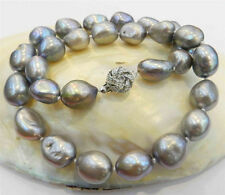 LARGE 12-14MM SILVER GRAY REAL BAROQUE CULTURED PEARL NECKLACE 18KGP CRYSTAL CL