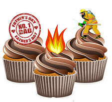 Fathers Day Gift 12 Fireman Themed Cup Cake Toppers - Dad Daddy Grandad Husband