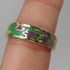 Womens 18k gold plated Enamel Multicolor Design Band Ring Size 10 (F7)