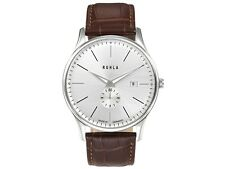 Ruhla Quartz watch 91235 classic Bauhaus style with leather strap Date