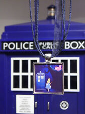 Alice in Wonderland, Doctor Who, Tardis, Dr Who, Alice & Cheshire Cat Necklace