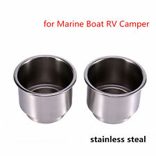 NEW 2 pcs Stainless Steel Drink Bottle Cup Holder For Car Marine Boat RV Camper