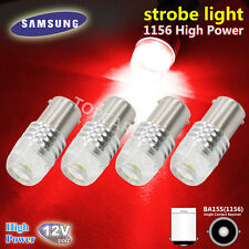 4pcs High Power Red BA15S 1156 P21W COB LED Bulb For Car Tail Brake Strobe Light