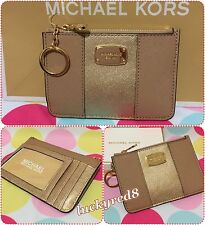 NEW MICHAEL KORS MET CENTER STRIPE SM Top Zip Coin/Pouch ID Camel/Pale Gold $78