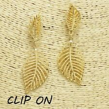 """2.75"""" gold leaf filigree clip on earrings basketball wives non pierced"""