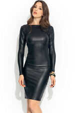 Womens black pvc wet look faux leather long sleeve bodycon dress size 10 & 12